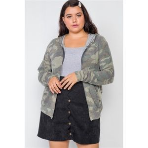 Sweaters - PLUS SIZE SOFT CAMO ZIP-UP KNIT HOODED SWEATER